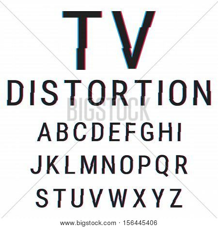 Alphabet stock vector illustration with aberration effect.