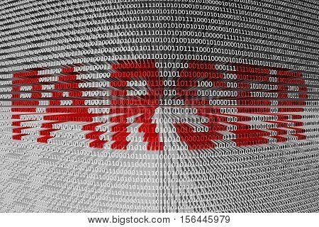 programming language PARSER as binary code 3D illustration