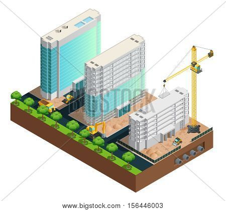 Three modern many-storeyed buildings construction isometric composition on white background vector illustration