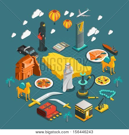Saudi Arabia isometric composition with icons of arabian culture architecture entertainment in flat style isolated vector illustration