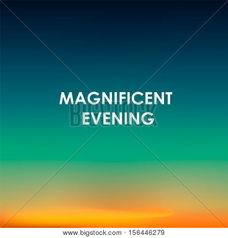 Sunset background with love notes. Magnificent evening. Vector illustration.