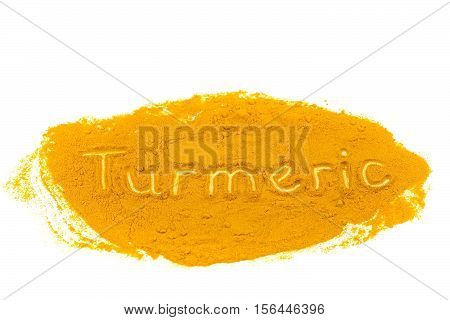 Word Turmeric written in powder isolated on white background