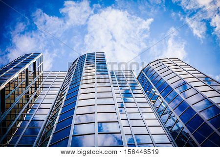 Exterior Of Glass Office Building. Modern Skyscrapers