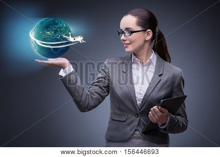 Businesswoman in air travel concept