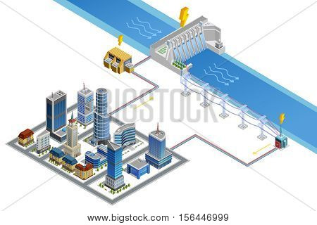 Scheme of modern city energy supply by hydroelectric station with dam generator and transformer isometric poster vector illustration