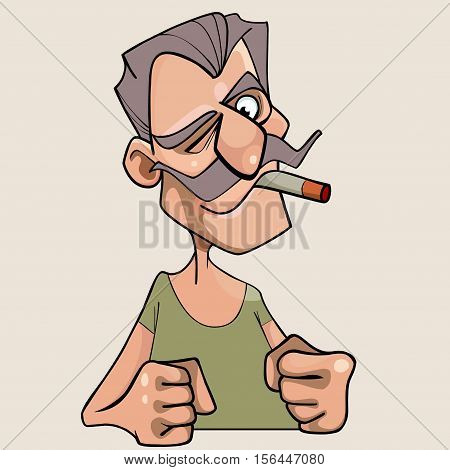 menacing cartoon mustached man with a cigarette in his mouth
