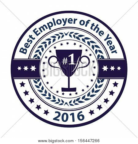 Best Employer of the year 2016 - business award label / stamp. Blue color distinction with champions cup. Print colors used