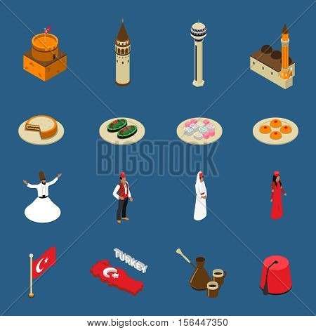Turkish cultural symbols for tourists isometric icons set with national traditional dishes clothing and mosque isolated vetor illustration