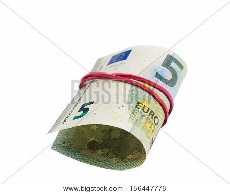 5 Euro Banknote rolls isolate on white