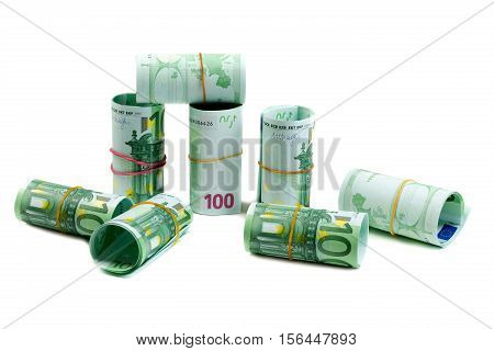 Banknotes 100 euros rolls. Isolate on white.