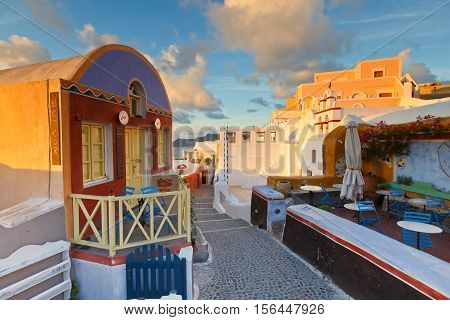 OIA, GREECE - NOVEMBER 06, 2016: View of Oia village on Santorini island in Greece on November 06, 2016.