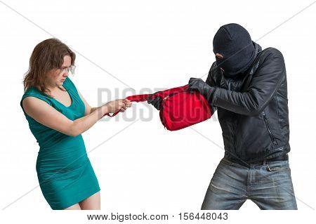 Thief is fighting with woman and stealing handbag. Isolated on white background. poster