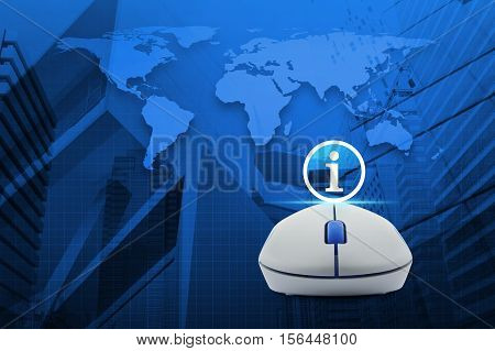 Wireless computer mouse with information sign icon over map and city tower Elements of this image furnished by NASA