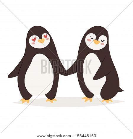 Penguin couple vector illustration character. Cartoon funny penguin cute character isolated. Penguin vector cute bird posing. Holiday penguin couple fall in love