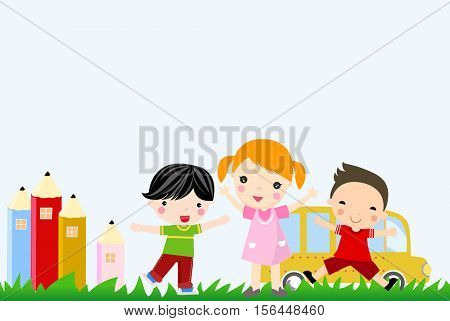 Three children and school bus