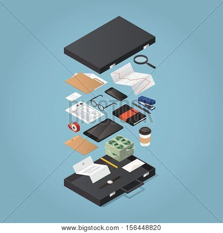 Vector isometric illustration of modern business man briefcase. Opened case with office stationery: envelope money folder note book pen stock rates diagram phone tablet document stapler.