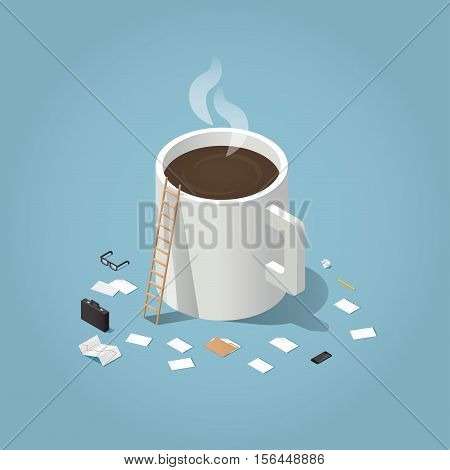 Isometric vector illustration of coffee break during working day concept. Big cup of hot coffee surrounded by small business man tools: paper document glasses case phone pen folder stock rates.