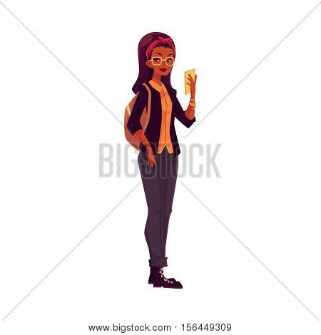 Full height portrait of college, university student African girl with phone and backpack, cartoon style illustration isolated on white background. Female student, blond hair, glasses, jeans and boots