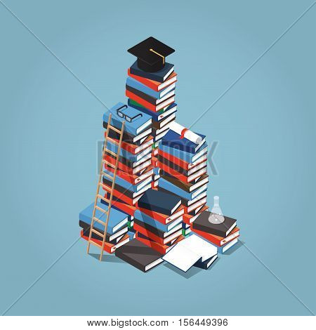 Isometric vector illustration of giant heap of books ladder near it and square academic cap certificate diploma and other objects on top of it. Knowledge and reading concept.
