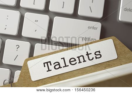 Talents. Card Index Overlies White Modern Computer Keypad. Business Concept. Folder Index  Talents Lays on Modern Keyboard. Archive Concept. Closeup View. Toned Blurred  Illustration. 3D Rendering.