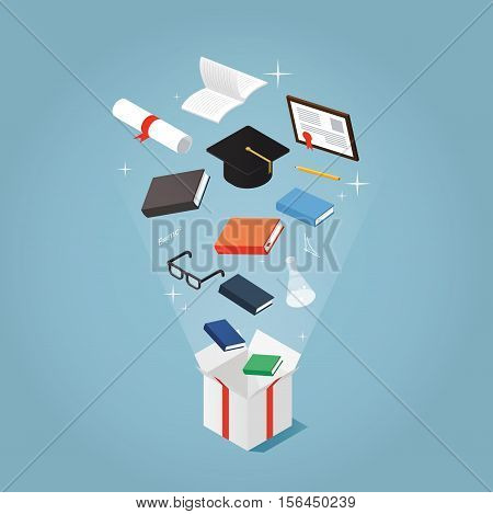 Isometric vector concept illustration of courses and education present. Books student graduating cap diploma glasses pen notebook are flying out of a present box package.
