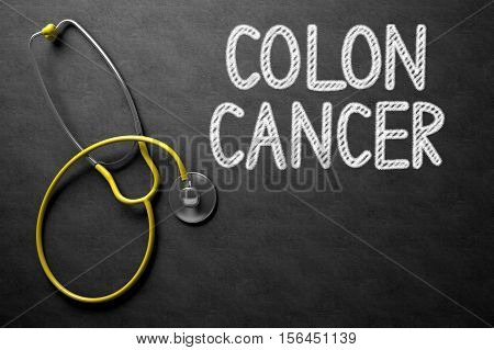 Medical Concept: Colon Cancer - Text on Black Chalkboard with Yellow Stethoscope. Medical Concept: Colon Cancer - Medical Concept on Black Chalkboard. 3D Rendering.