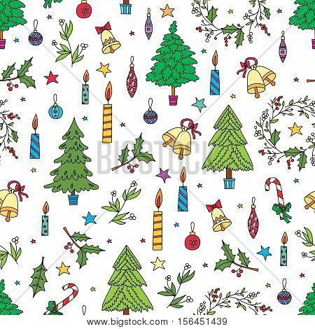 Christmas decoration seamless pattern. Background with graphic elements. Toys, candles, engraving fur-trees, deer and bells. New Year vector.
