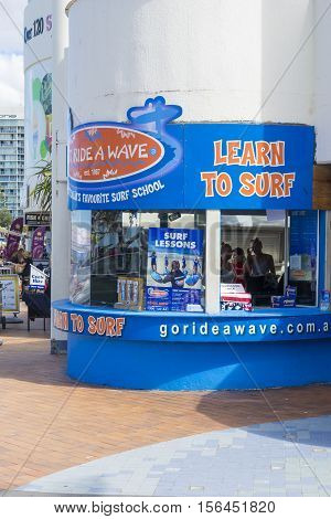 Gold Coast, Australia - September 22, 2016: View of Surfers Paradise learn to surf shop at Cavill Avenue in Gold Coast. Surfing is one of the most popular sports in Australia.