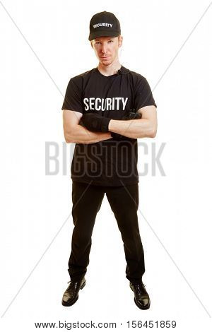 Man as a bodyguard or a security guard with security clothes