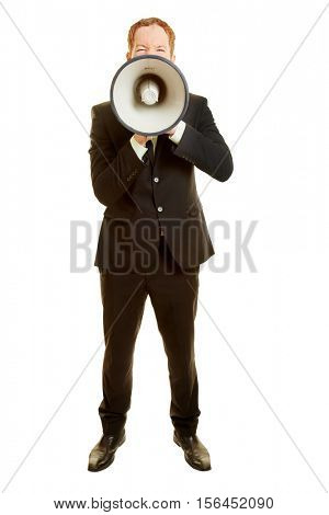 Man with a megaphone in a frontal portrait with a communication concept