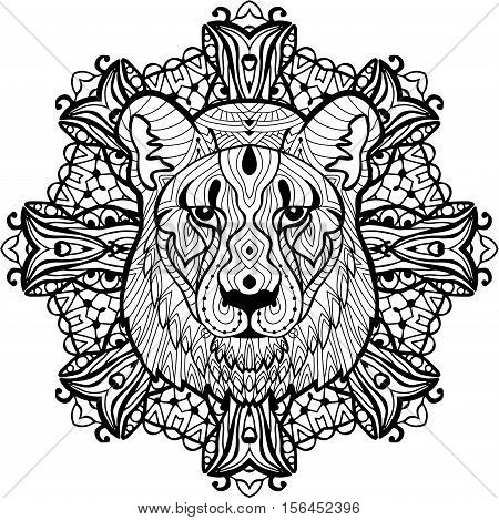 Totem coloring page for adults. Painted the Predatory lioness on the background tribal mandala patterns. Element for your design. Cards, bags, coloring for adults, t-shirts, tattoo. Line art design.