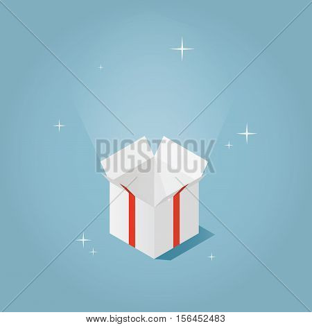 Isometric vector present box illustration. The christmas or birthday surprise concept. Isometric opened gift box with bow red ribbon and sparkles.