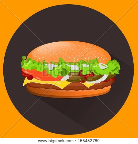 Tasty cheeseburger delicious and cheeseburger sandwich. EPS10