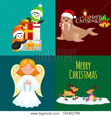 Illustration set animals winter holiday North Pole penguins presents and, deer skating, walrus in hat with bells, vector angel. Merry Christmas and Happy New Year.