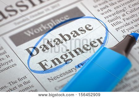 Database Engineer. Newspaper with the Small Ads of Job Search, Circled with a Blue Highlighter. Blurred Image. Selective focus. Job Search Concept. 3D Illustration.