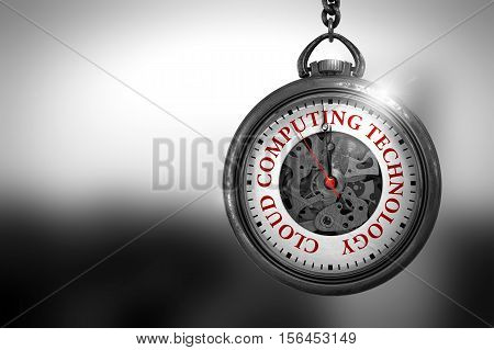 Vintage Pocket Watch with Cloud Computing Technology Text on the Face. Business Concept: Vintage Watch with Cloud Computing Technology - Red Text on it Face. 3D Rendering.