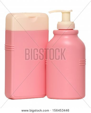 Closed Cosmetic Or Hygiene Plastic Bottle Of Gel, Liquid Soap, Lotion, Cream, Shampoo. Isolated White Background.