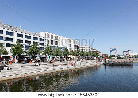 Kiel, Germany - June 4, 2016: Kiel downtown and harbor. Kiel is the capital and most populous city in the northern German state of Schleswig-Holstein, with a population of 240 000