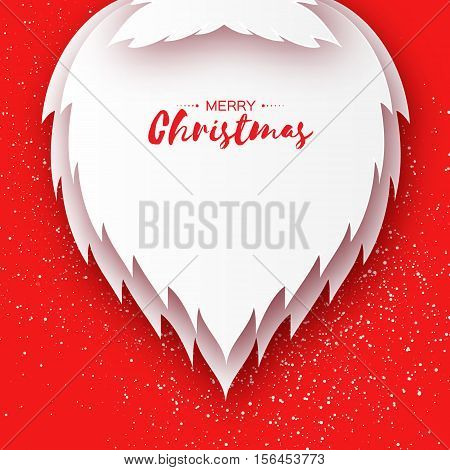 Merry Christmas card with paper cutout Santa Claus beard and mustache on red background. Vector illustration for greeting card.
