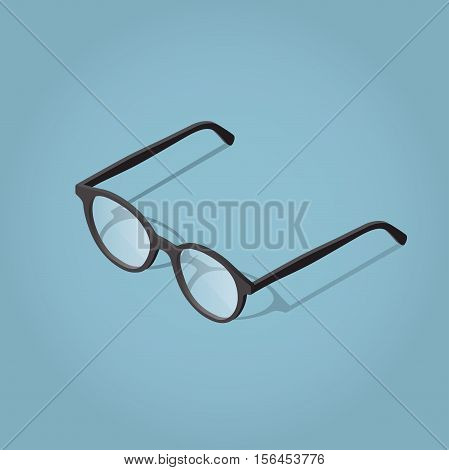 Isometric vector glasses illustration with shadow for reading.
