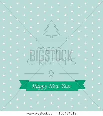 Christmass card with elegant text and new year ribbon vector illustration, idea of greeting card, xmas postcard cover concept, festive banner decoration line outline style on blue snow background