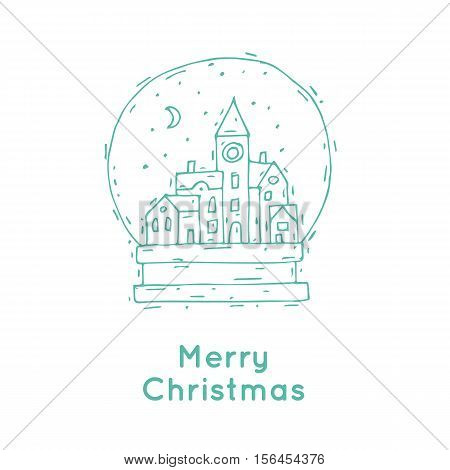Happy New Year and Merry Christmas. Winter landscape of old city in a bowl, snow. Hand-drawn, lino-cut. Greeting card. Flat design vector illustration.