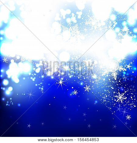 brilliant blue background with snowflakes for Christmas and New Year