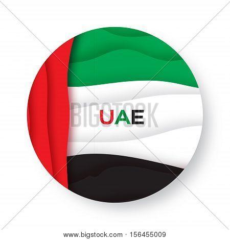 United Arab Emirates flag. UAE papercut style. Vector illustration