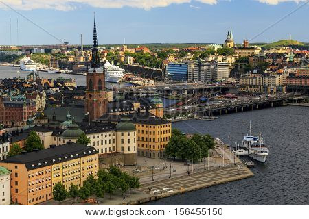 STOCKHOLM, SWEDEN - JUNE 27, 2016: This is aerial view of the central part of the city mainly in the old district of Riddarholmen.