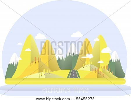 Autumn mountain landscape. Yellow hills, blue sky, white clouds, orange trees, grey highway. Flat design, stock vector illustration