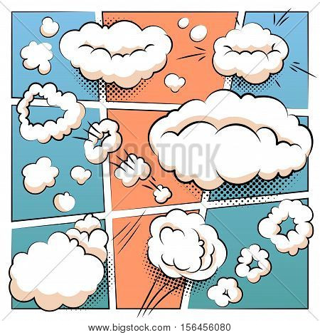 Comic Page Template With Comics Speech Balloons And Mind Bubbles Vector Collection.