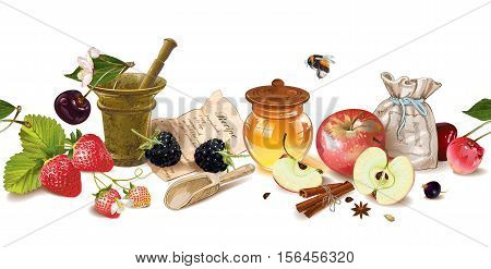 Vector fruit and berry cosmetic seamless border with honey and mortar. Design for natural cosmetics health care products aromatherapy homeopathy recipe book. With place for text