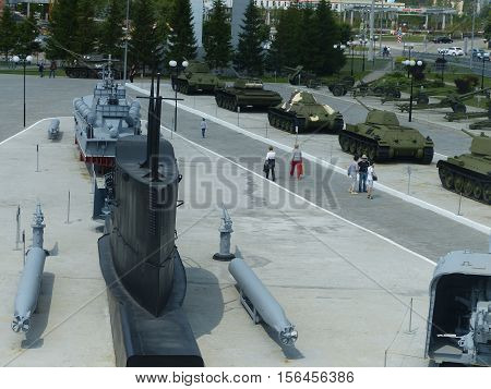 Upper Pyshma, Russia - July 02, 2016: Various military equipment in the open air in museum of military equipment. View from above. Interior of the Museum of military.