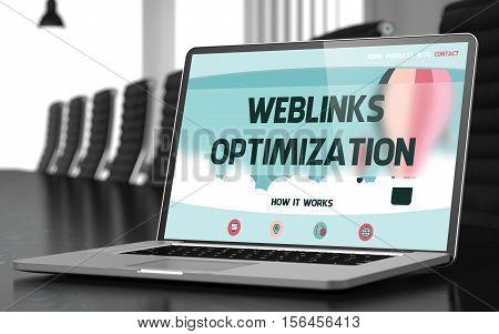 Weblinks Optimization on Landing Page of Mobile Computer Display in Modern Meeting Room Closeup View. Blurred. Toned Image. 3D Render.